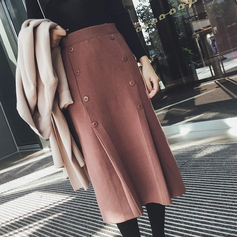 2017秋冬新款韩版高腰针织半身裙长裙女冬季中长款包臀鱼尾裙裙子