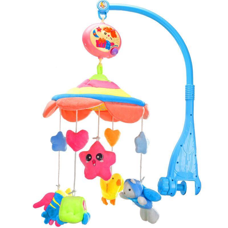活石婴儿床铃摇铃新生儿益智早教玩具可爱动物两用声光节生日礼物