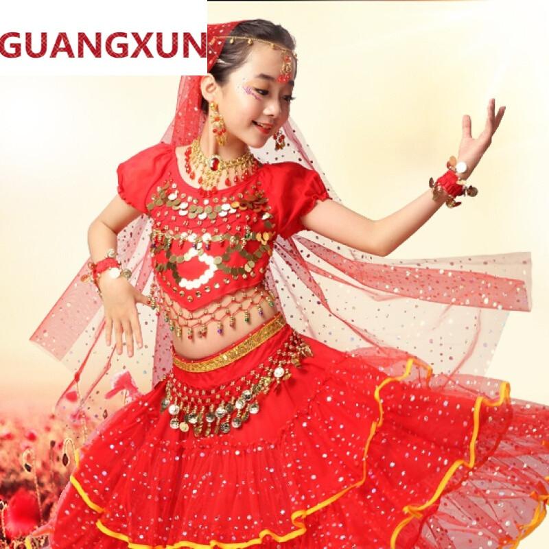 guangxun新款印度肚皮舞少女儿童民族舞蹈服装演出服幼儿表演套装