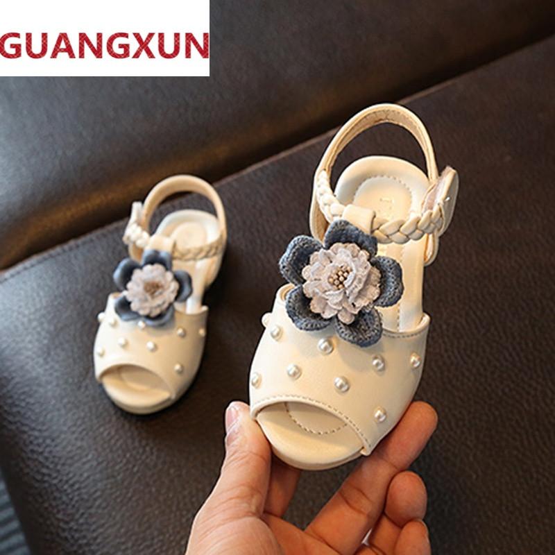 儿童小凉鞋夏女童公主鞋防滑鱼嘴鞋韩版珍珠可爱宝宝学步鞋