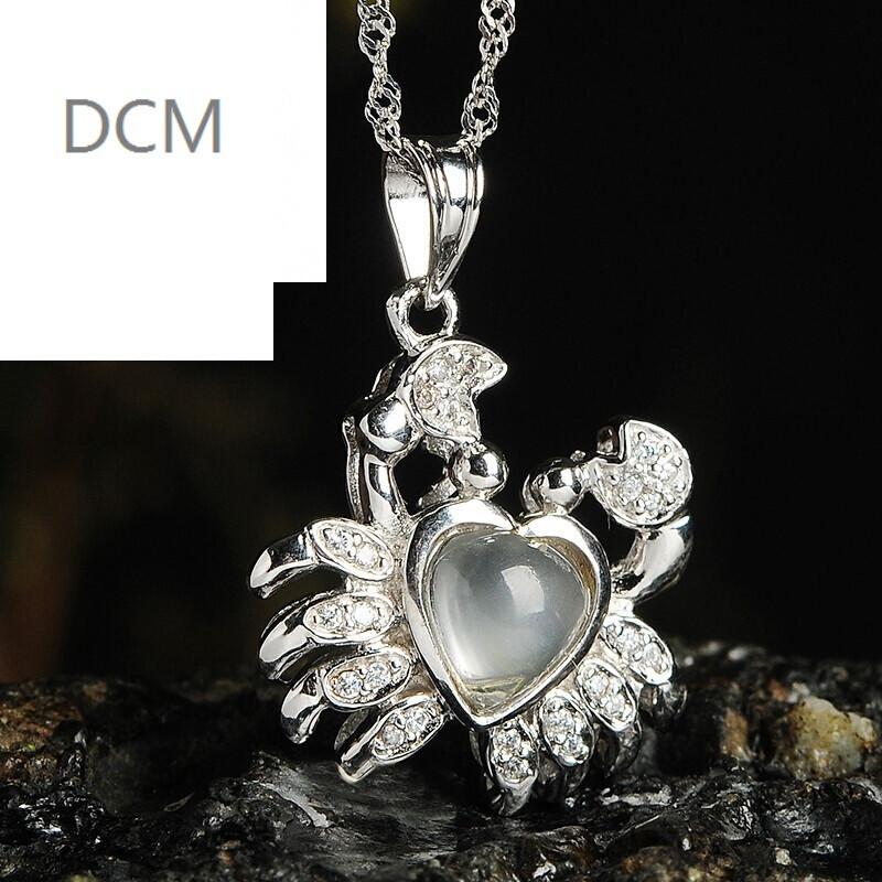 dcm925银喜欢品质石蛋面星座女款吊坠巨蟹座爱心女孩子白羊座镶嵌的月光项坠图片