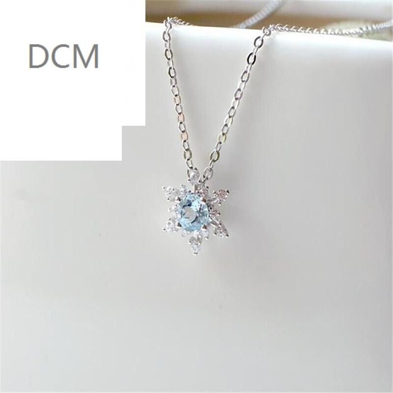 dcm雪花款锁骨链项链蓝色仿水晶饰品