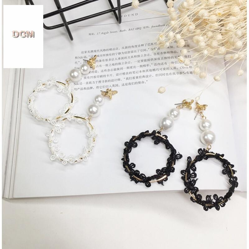 韩国韩版个性时尚蜜蜂手工珍珠串长款缠绕蕾丝金属圈耳环耳饰耳坠