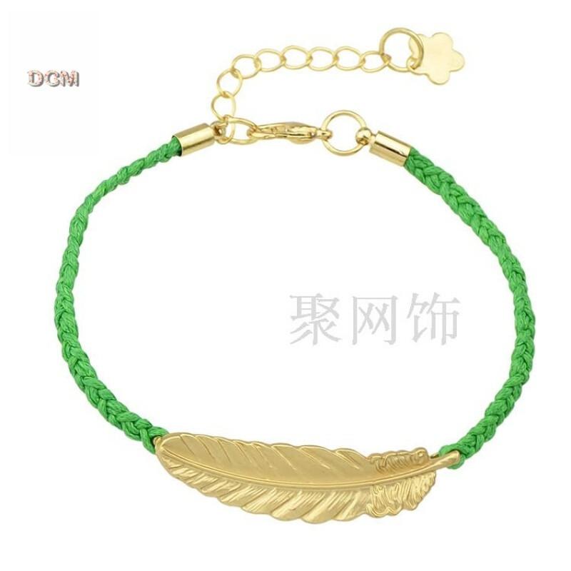 欧美流行饰品韩版编织绳金色叶子手链女手工编织