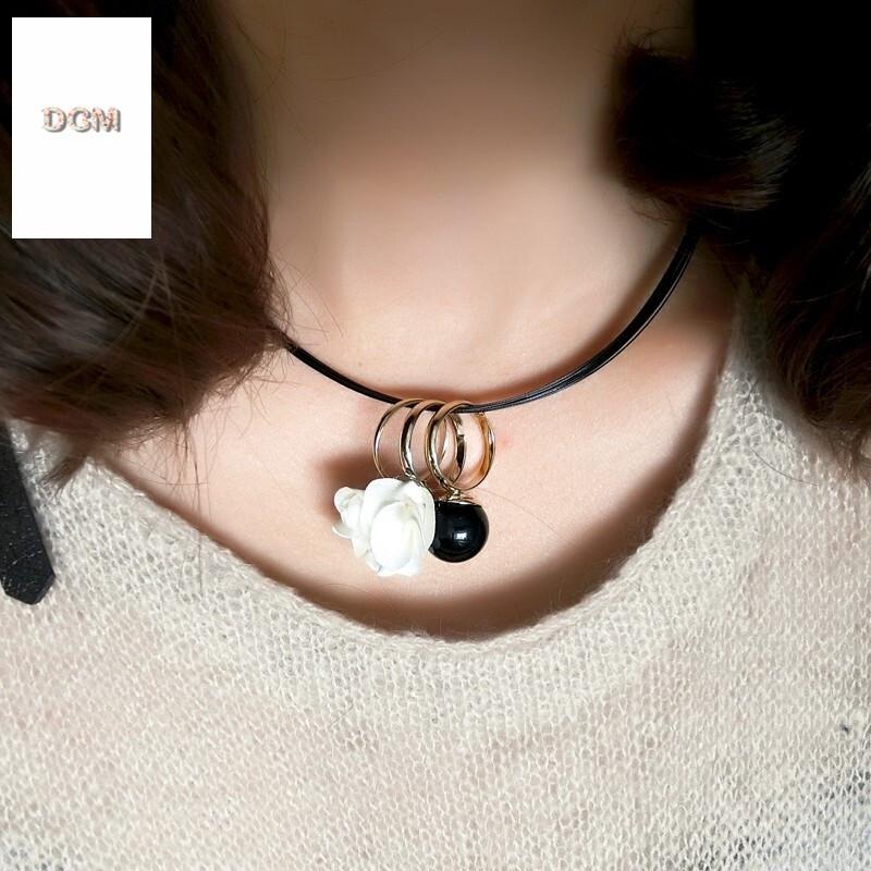 韩国布艺花朵项链配饰珍珠项链戒指吊坠水晶项链黑色绳子锁骨链女