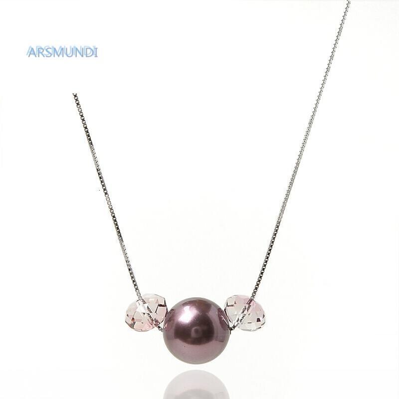 arsmundi奥地利水晶珍珠可爱吊坠挂件锁骨链颈链女粉色925银配件164