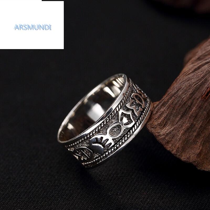 arsmundi银饰s925足银六字真言藏文复古泰银做旧男女情侣戒指指环1