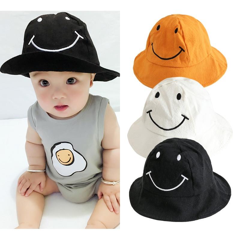 新款婴儿帽子夏天女宝宝遮阳帽新生儿男太阳帽笑脸盆帽防晒软帽渔夫帽