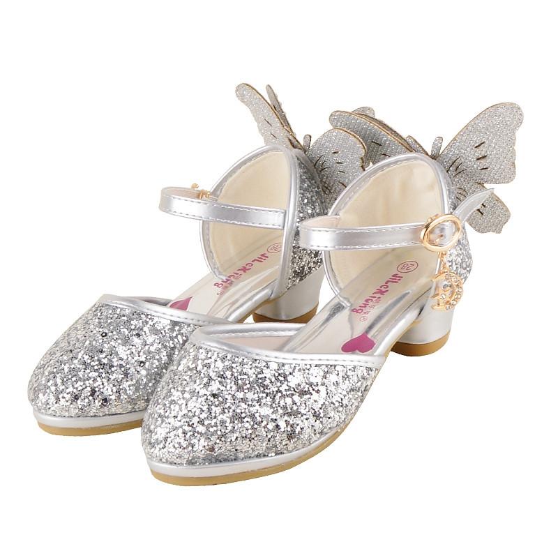 特价清仓女童高跟鞋小公主春秋高跟鞋儿童包头半凉鞋单皮鞋