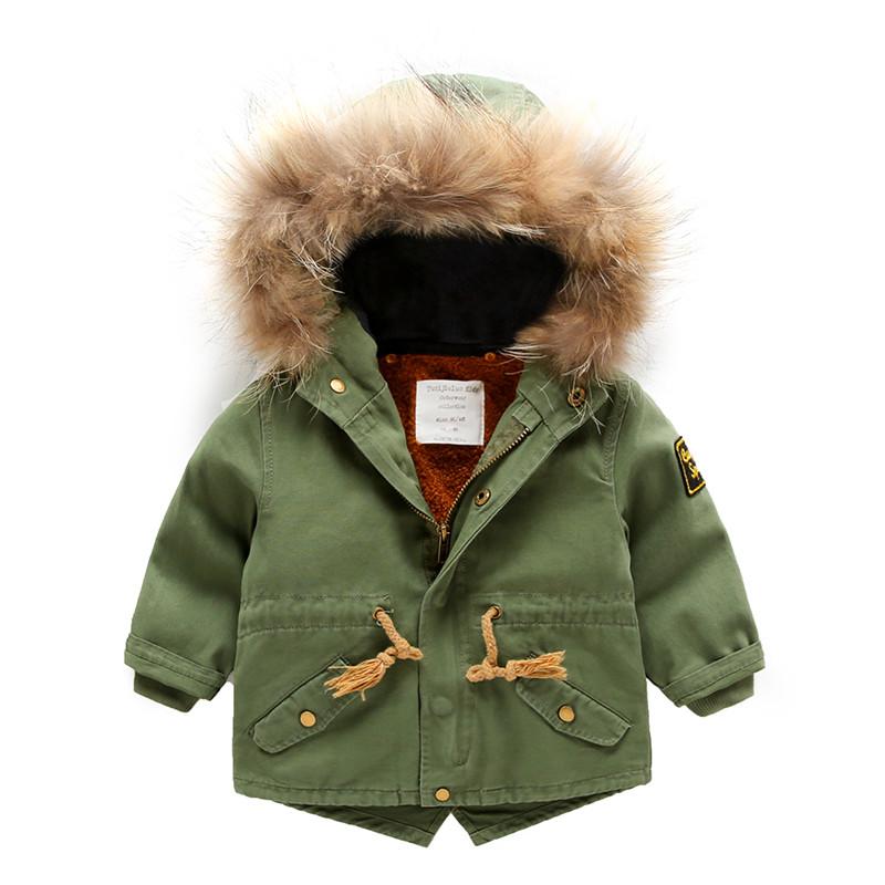 促销男童外套冬季宝宝冬装男新款大衣加厚童装女童毛领上衣儿童风衣女