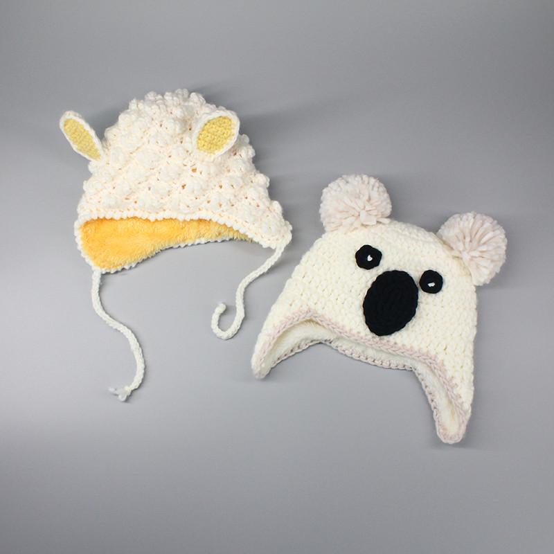 促销婴幼儿男童女宝宝帽子可爱小绵羊熊手工棒针织棉套头帽秋冬天新品