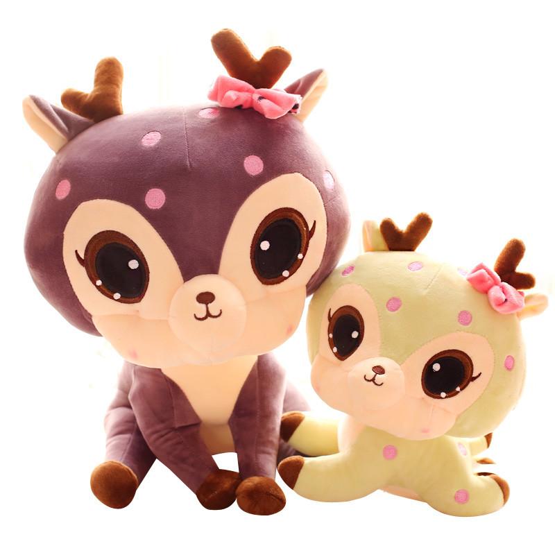 促销萌可爱梅花鹿毛绒玩具 大眼睛小鹿公仔布娃娃儿童