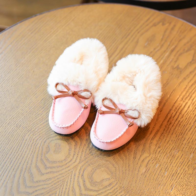 促销2017冬季新款套脚保暖鞋女童可爱蝴蝶结加绒豆豆鞋宝宝防滑毛毛鞋