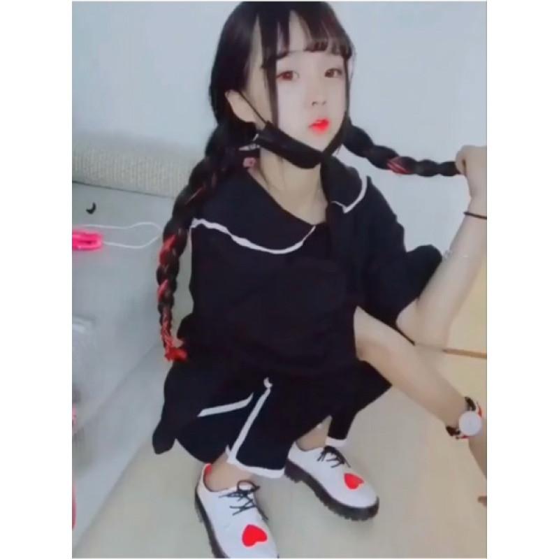 2017快手网红杨清柠小不点姜娜同款小皮鞋女学院风圆头爱心大头鞋单鞋
