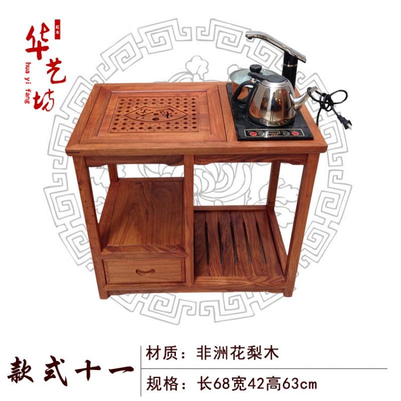 特价花梨木茶桌茶台红木移动茶车柜鸡翅木茶几电磁炉实木茶水架柜