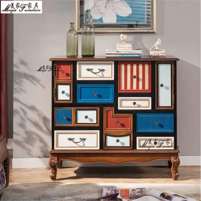 美式斗柜 多彩地中海斗柜彩绘家具玄关柜实木抽屉柜装饰储物柜子图片
