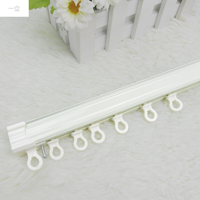 一立铝合金轨道窗帘杆纳米静音滑道顶装侧装墙装滑轨双轨安装配件滑轮