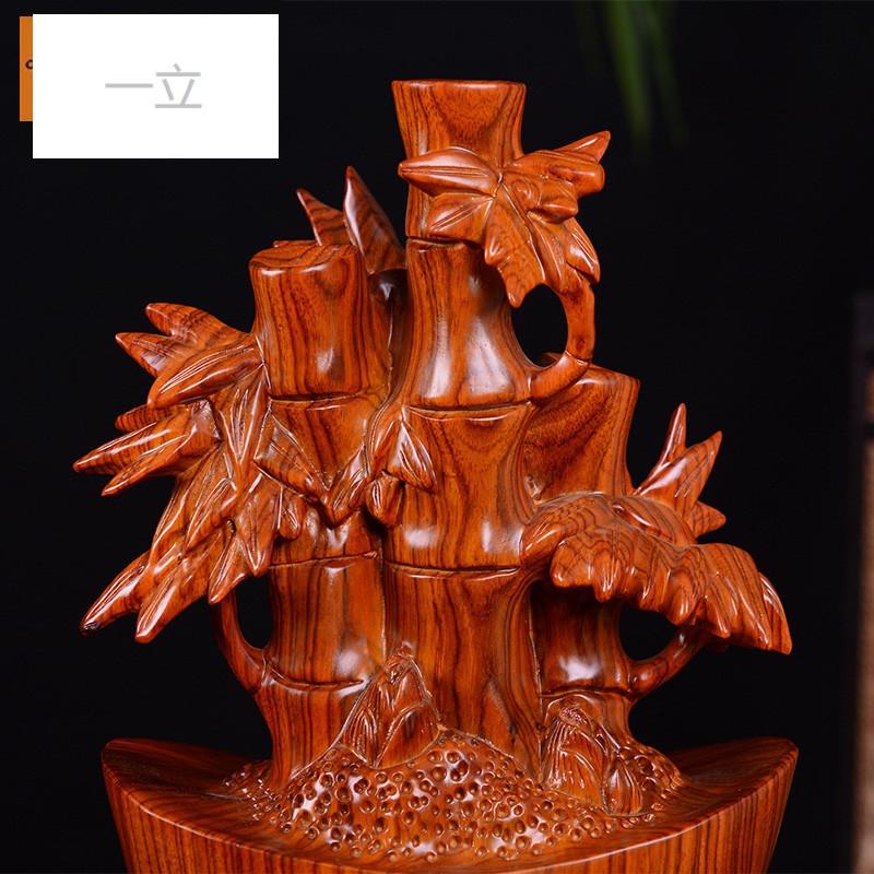 一立花梨木雕竹子办红木公室家居装饰工艺品摆件