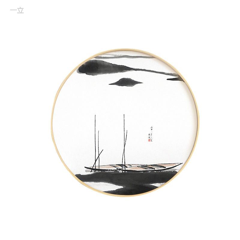 特价新中式山水画客厅实木圆形装饰画 玄关水墨国画书房挂画风景壁画