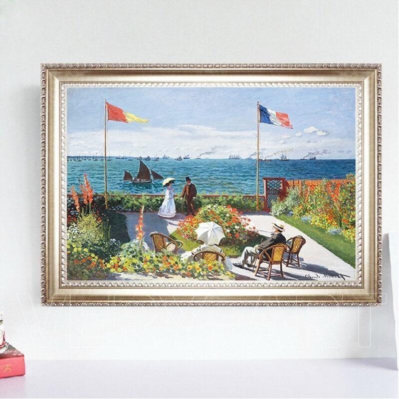 圣阿得列斯花园阳台莫奈油画印象风景装饰画世界名画欧式有框画圣阿得