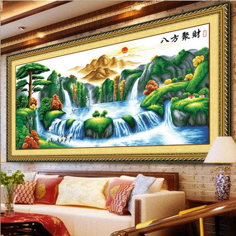 印花十字绣山水画新款客厅风景八方聚财十字绣聚宝盆2