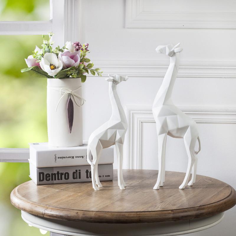 北欧折纸树脂鹿象动物摆件工艺品 客厅电视柜酒柜玄关