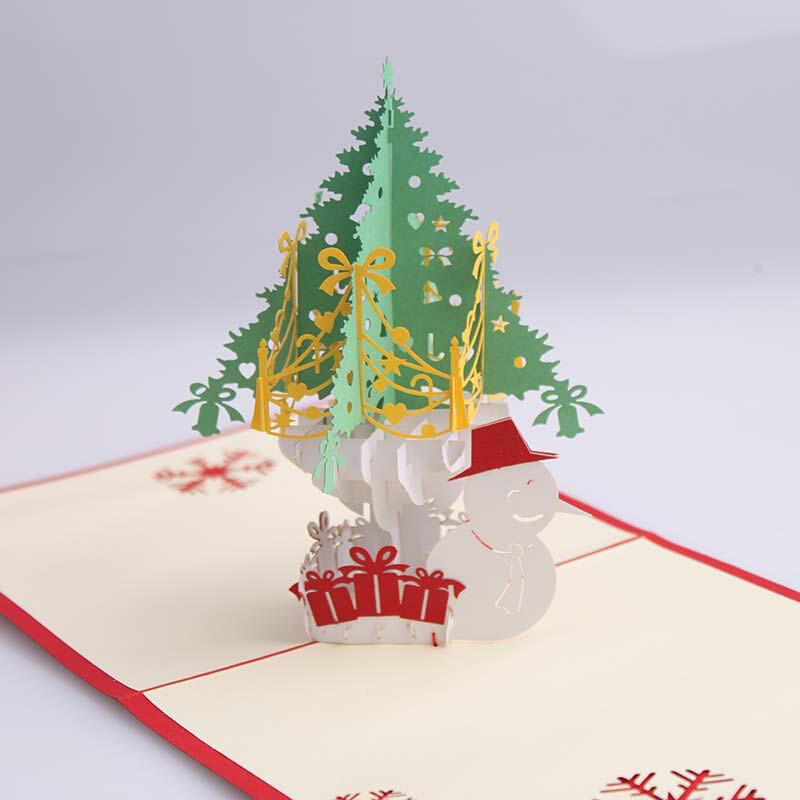 圣诞节立体贺卡3d剪纸雕花圣诞树节日纪念卡创意纸艺派对邀请卡