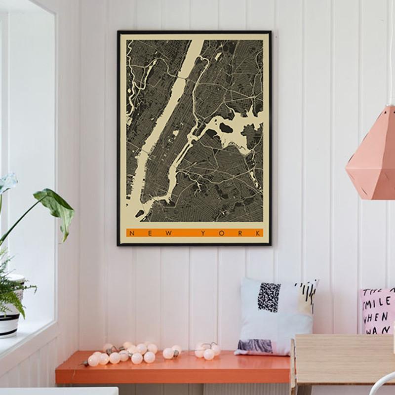 美式乡村装饰画现代简约壁画复古风格墙画中国线描艺术地图