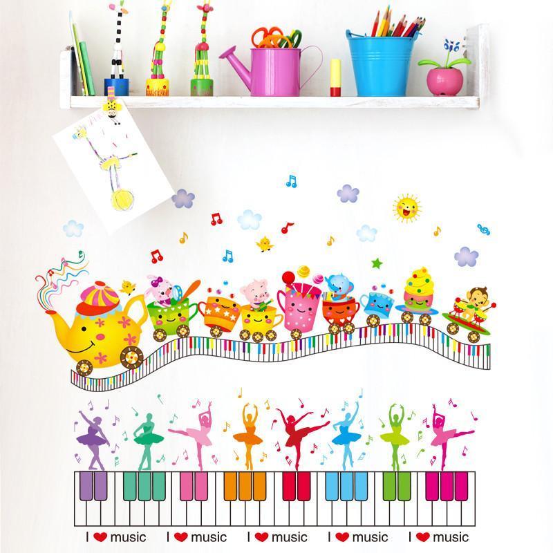墙贴纸贴画卡通儿童房间幼儿园墙面装饰火车钢琴音乐舞蹈教室创意