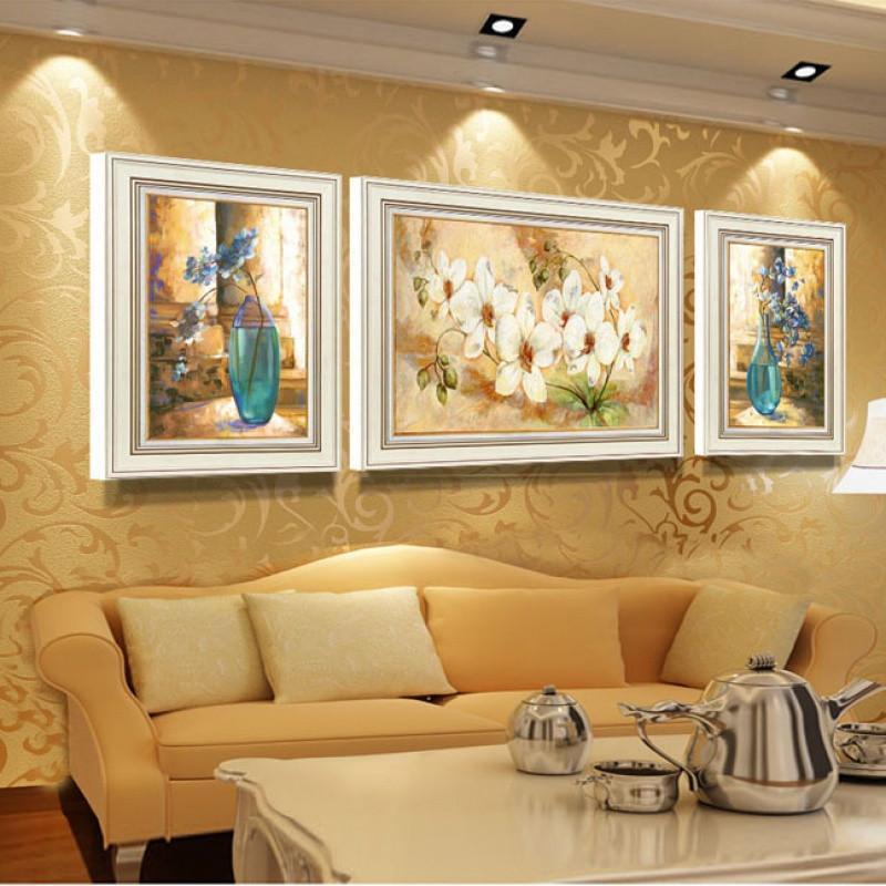 创意美式装饰画客厅欧式复古壁画墙壁沙发背景画三联油画壁饰