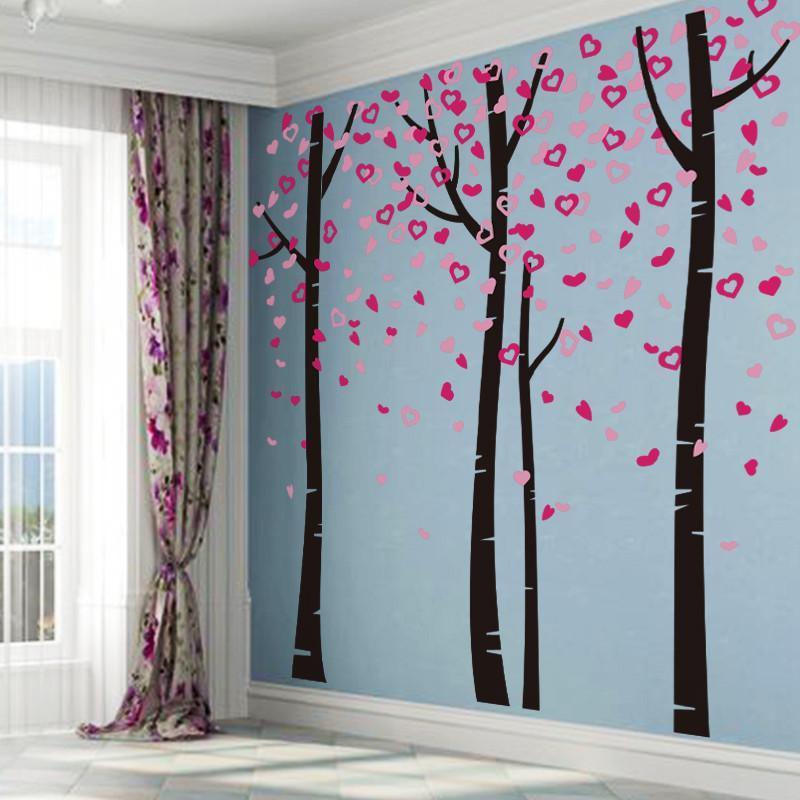 一代大型墙壁装饰贴纸墙贴画客厅沙发电视背景墙画爱心树林