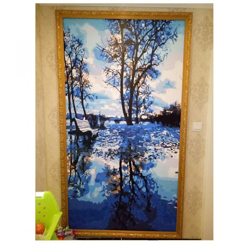 diy数字油画风景竖版玄关走廊过道现代手工绘填色油彩
