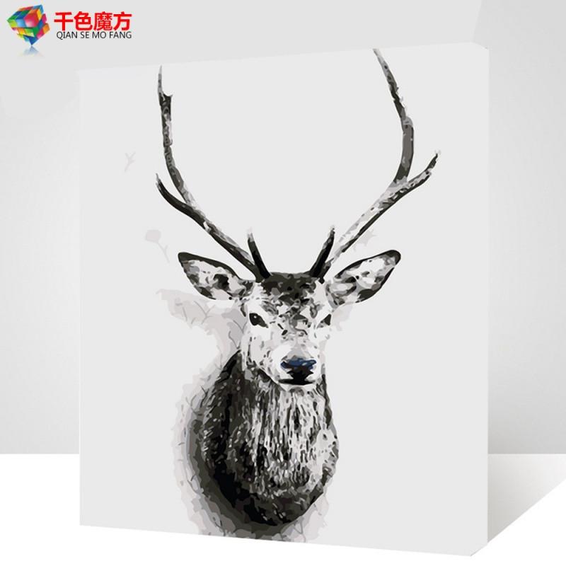 数字油画diy风景花卉人物卡通动物客厅手绘油彩填色鹿