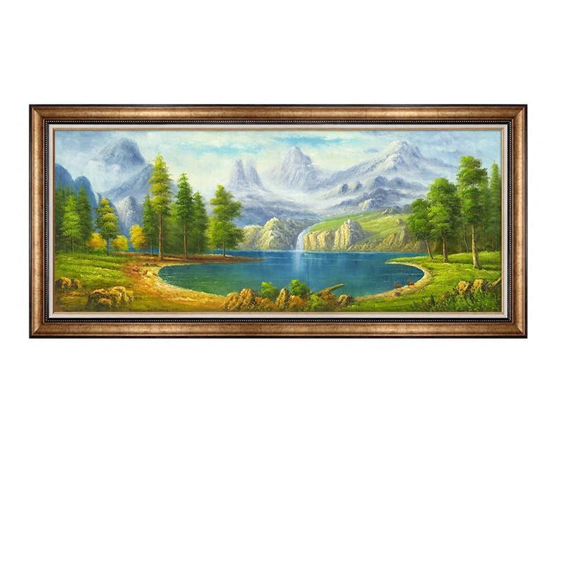 纯手绘欧式田园风景油画聚宝盆山水客厅装饰画沙发背景墙招财挂画