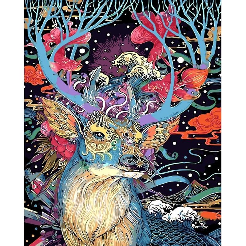 数字油画diy 客厅动物风景淡彩手绘画 银光冰鹿40*50