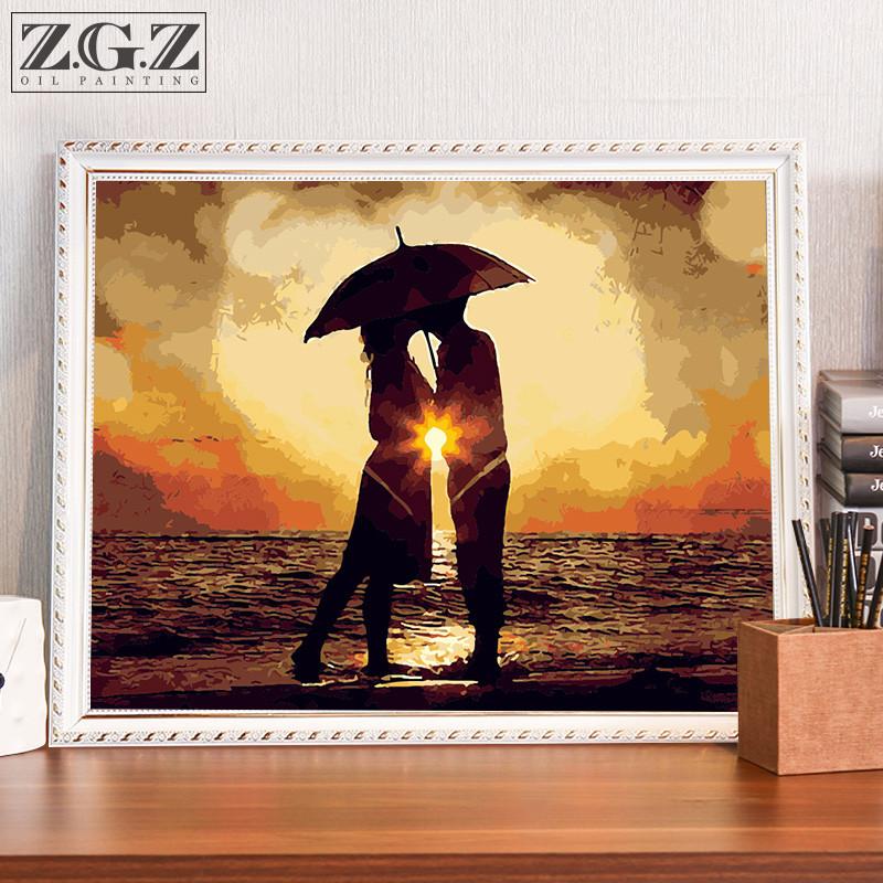 diy数字油画风景客厅情侣结婚人物油彩画手绘填色数码