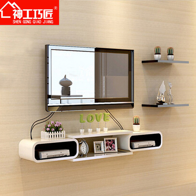 创意一字隔板电视背景墙装饰架墙上置物架浴室壁挂搁板架层板架子图片