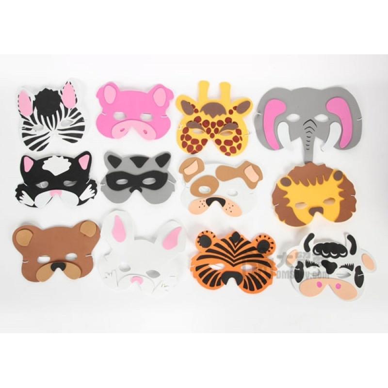 儿童玩具角色扮演森林动物卡通面具组合套装摄影道具聚会活动脸谱