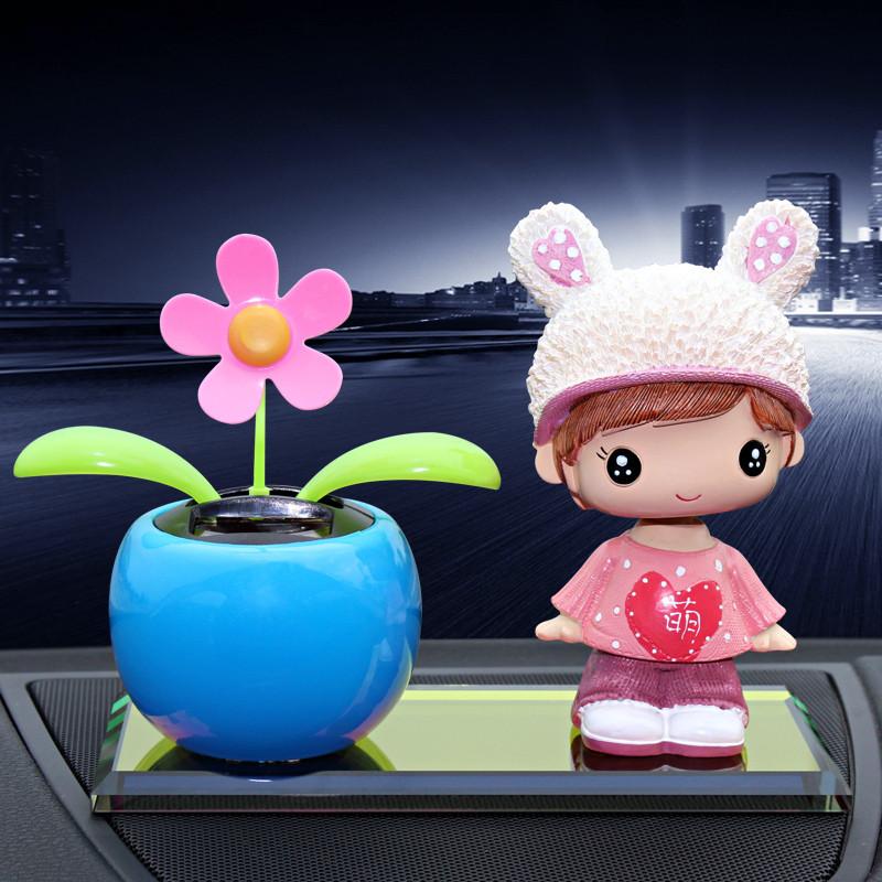 汽车摆件车饰车载车内饰品摆件太阳能摇头可爱卡通娃娃车上装饰品