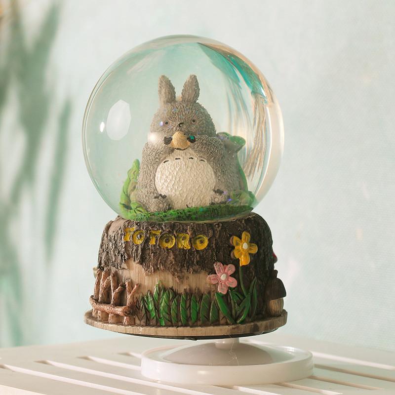 宫崎骏龙猫卡通旋转水晶球音乐盒八音盒发光雪花球小摆件生日礼物图片