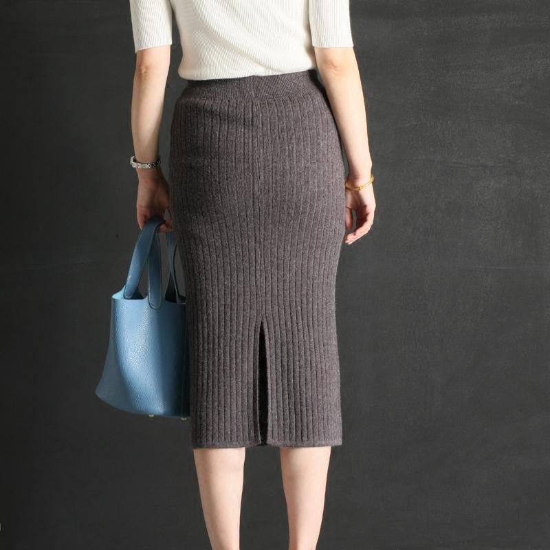 新款2017秋冬新款高腰包臀针织毛线中长款后开叉一步裙半身裙女