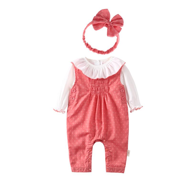 新款宝宝秋装套装女0一1岁 婴儿衣服6-12个月新生儿纯棉背带裤两件套