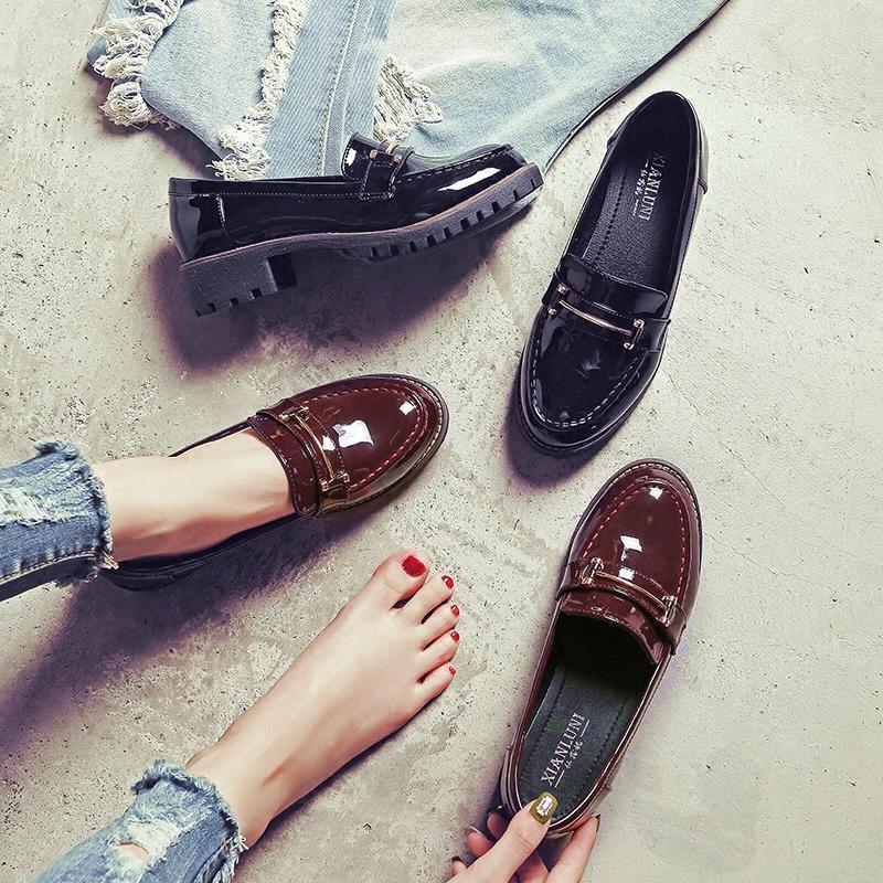 热卖英伦风女鞋子秋季2017新款原宿软妹小皮鞋女加绒学生韩版百搭单鞋