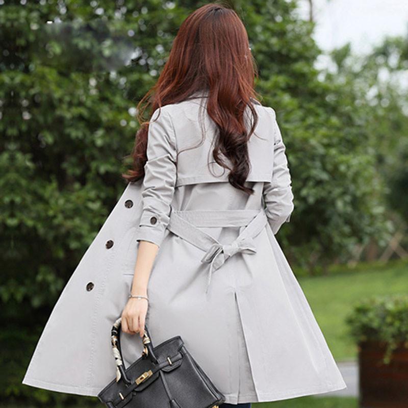 風衣女2017春秋裝新品韓版氣質女裝英倫風雙排扣中長款女風衣外套圖片