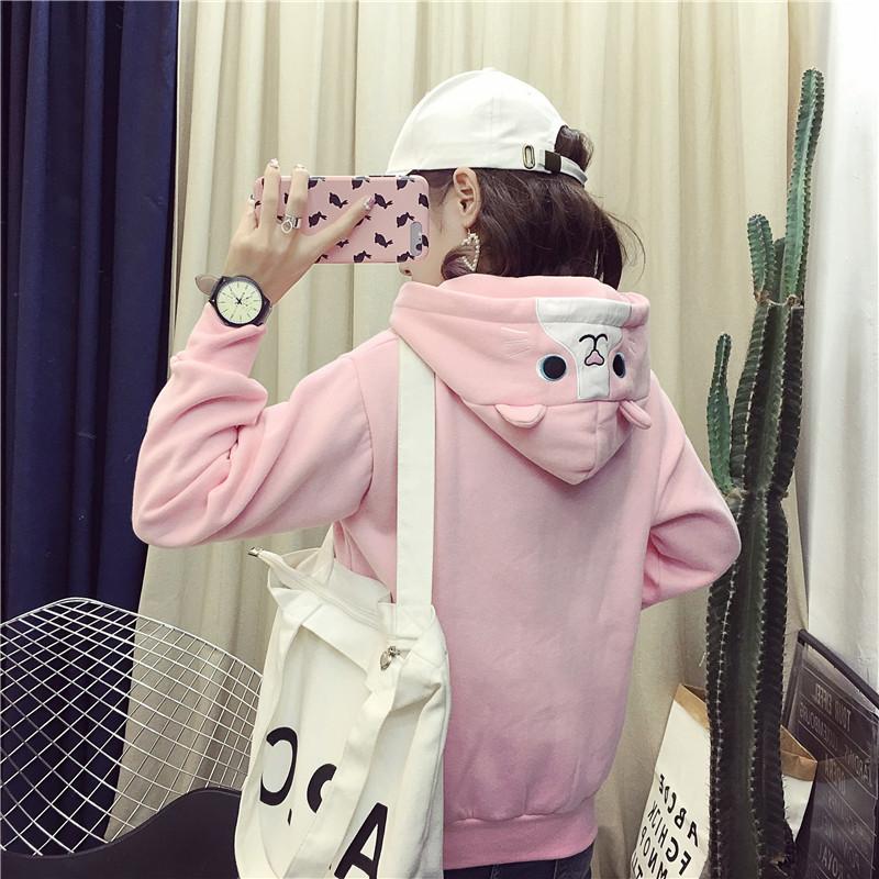 韩版套头卫衣女宽松百搭兔耳朵可爱连帽外套学院风bf