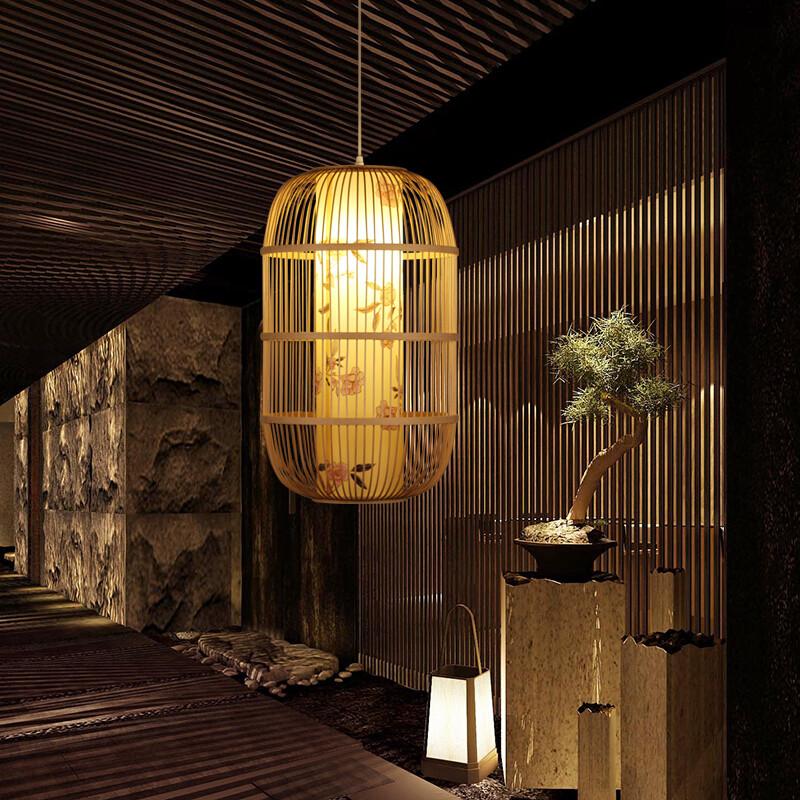 都市诱惑新中式禅意吊灯仿古茶楼茶室竹编灯笼日式餐厅灯具走廊过道图片