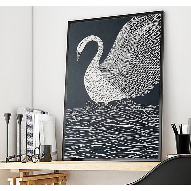 小清新北欧抽象挂画现代简约客厅沙发背景墙装饰画美容院餐厅壁画图片