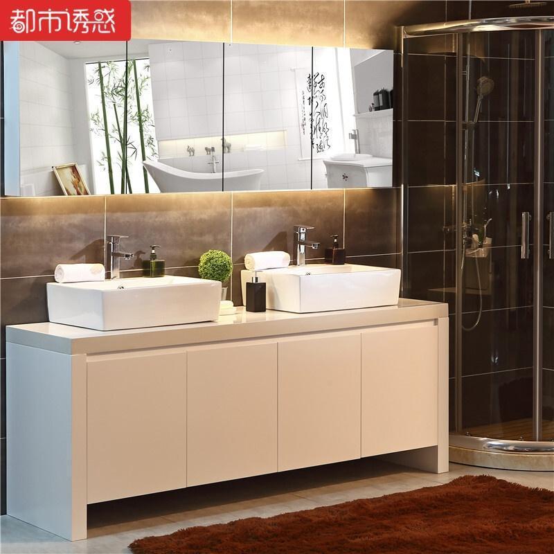 卫生间浴室柜实木落地卫浴柜双盆洗手池洗漱台上盆洗脸盆柜组合柜160