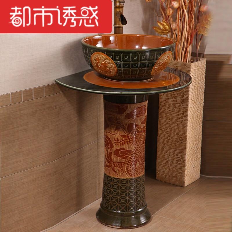 卫生间立柱式阳台艺术洗手盆 时尚圆形陶瓷立柱盆洗面盆大尺寸 套餐8