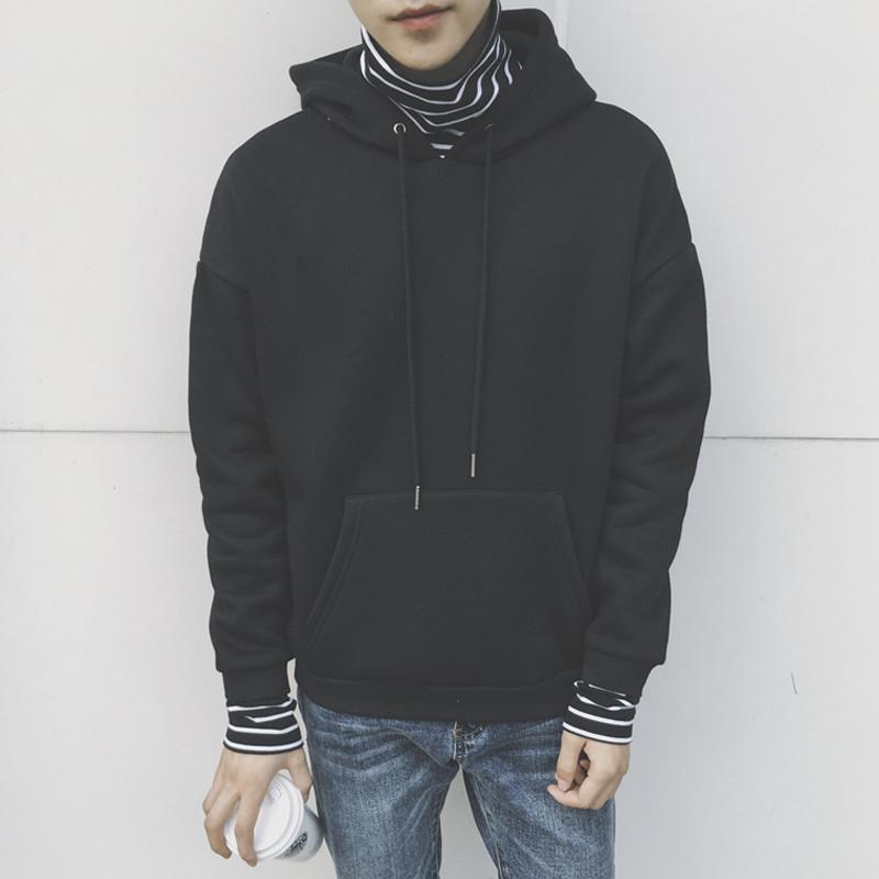 假两件男卫衣_qmsy新款冬季新款高领连帽卫衣男韩版学生加绒情侣外套宽松条纹假两件